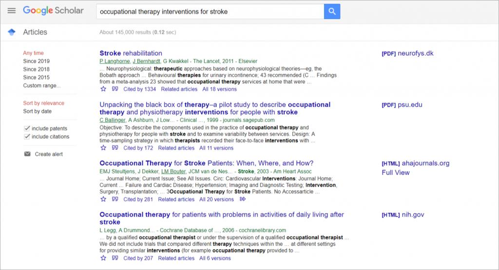 evidence based ot google scholar