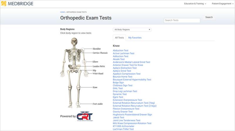 orthopedic exam tests