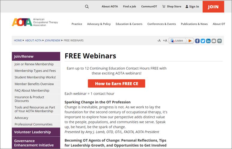 aota free webinars
