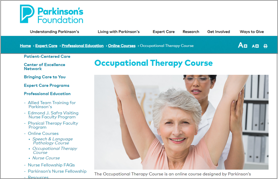 parkinsons foundation free ceu
