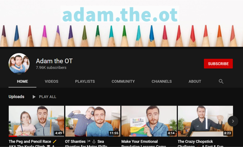 adam the ot occupational therapy youtube channels