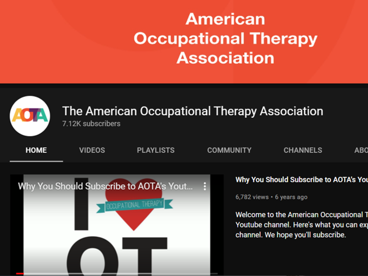 aota occupational therapy youtube channels