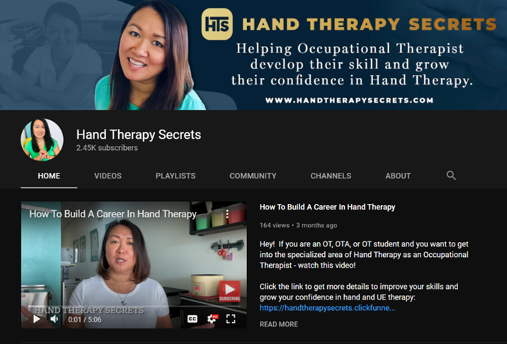 hand therapy secrets occupational therapy youtube channels