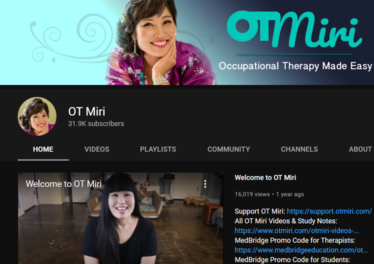 ot miri occupational therapy youtube channels