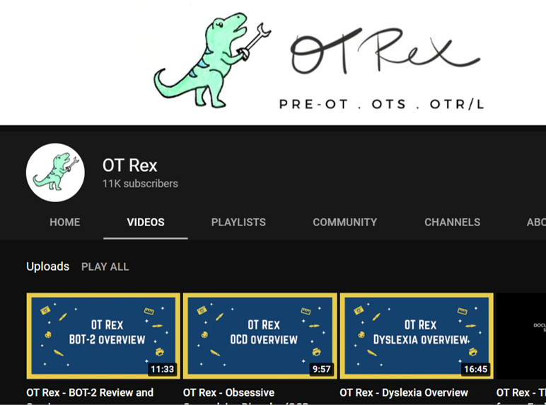 ot rex occupational therapy youtube channels