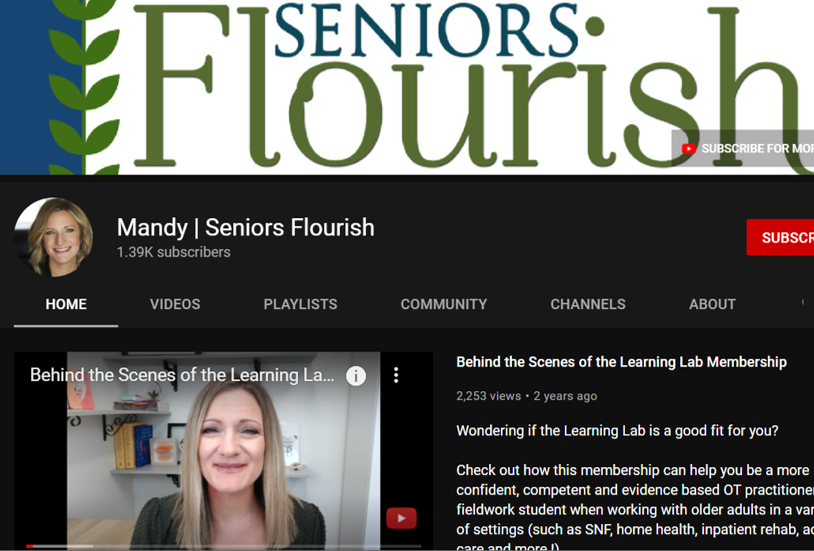 seniors flourish occupational therapy youtube channels